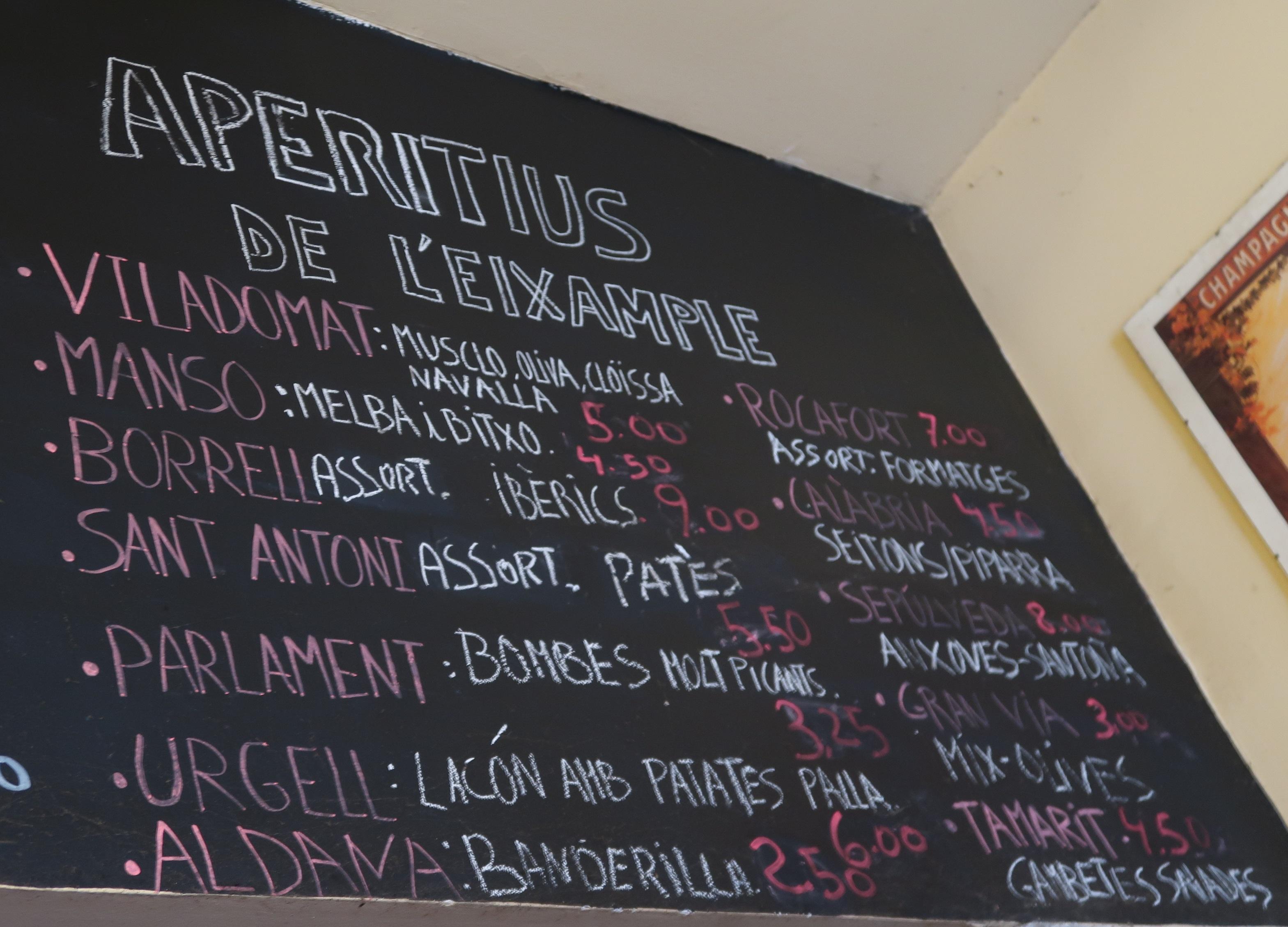 Bar Nostalgic sandwich menu, street names