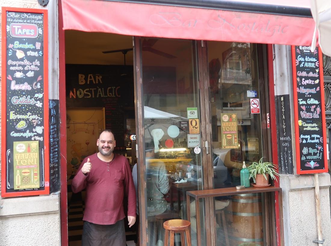 Bar Nostalgic bar from outside, Barcelona