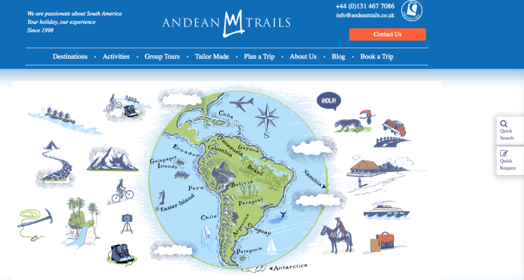 Andean Trails website