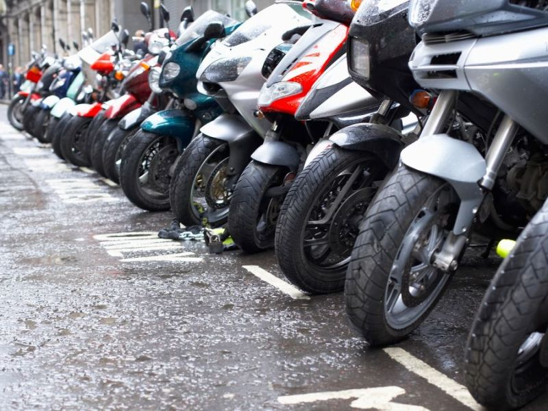 Motorbikes parked in a street