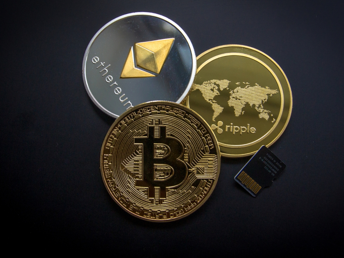 Imagined Bitcoin, Ripple and Etheruem cryptocurrecy coins