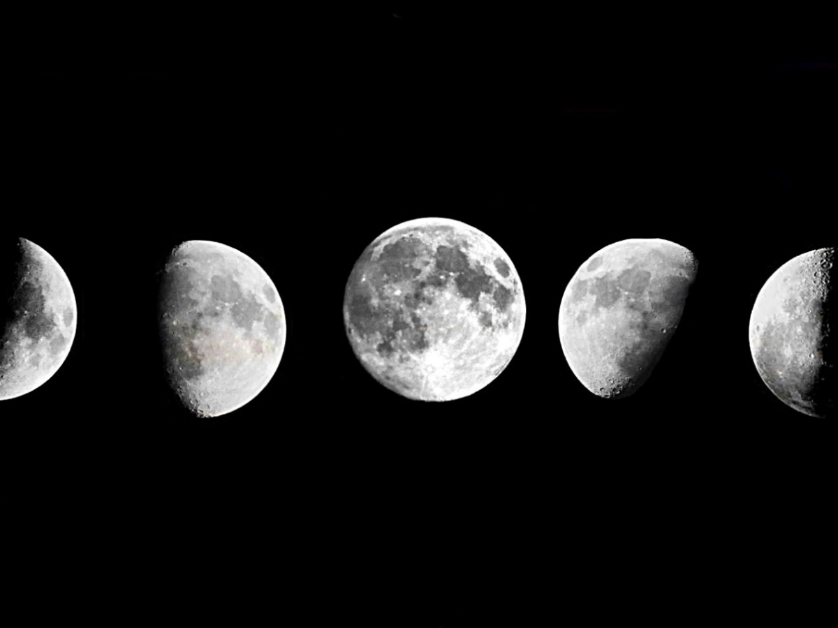 A photo of various phases of the moon