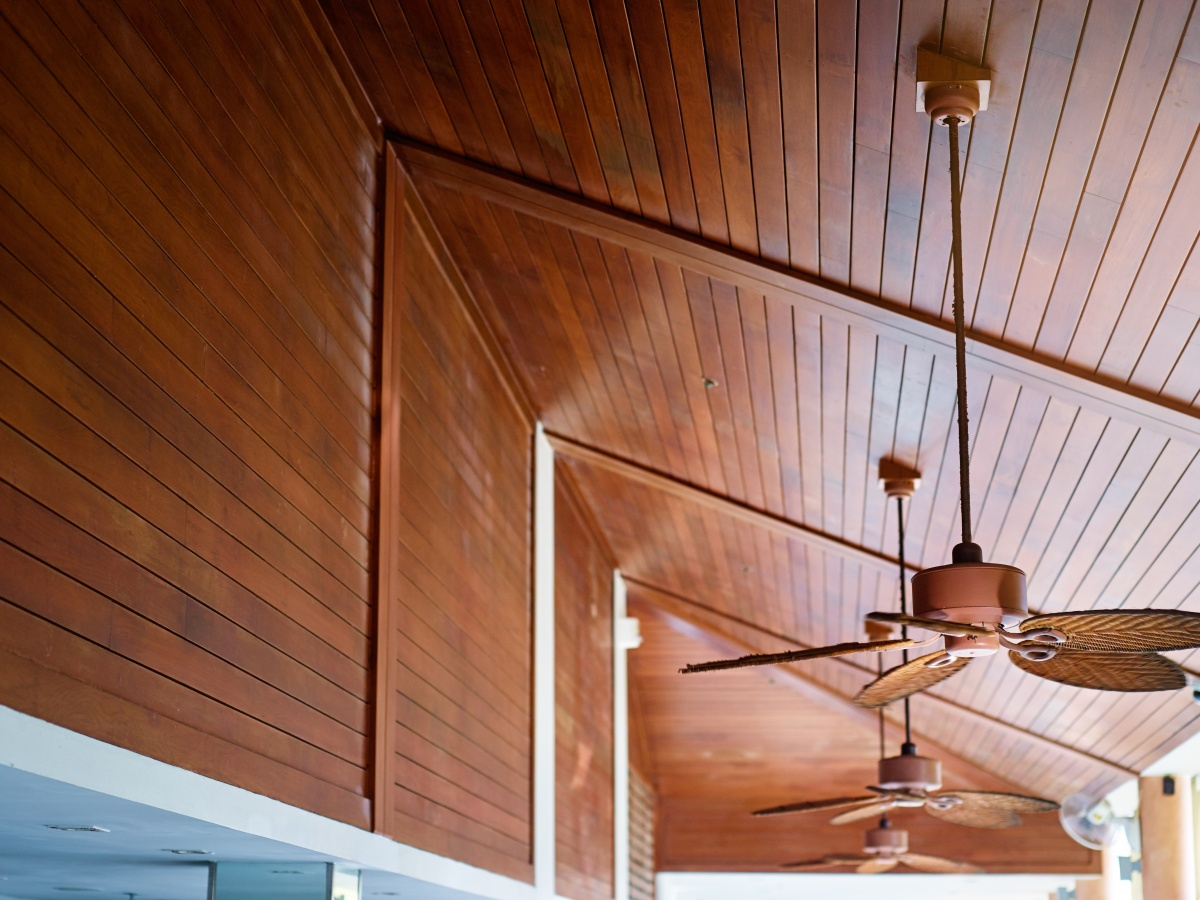Ceiling fans in operation